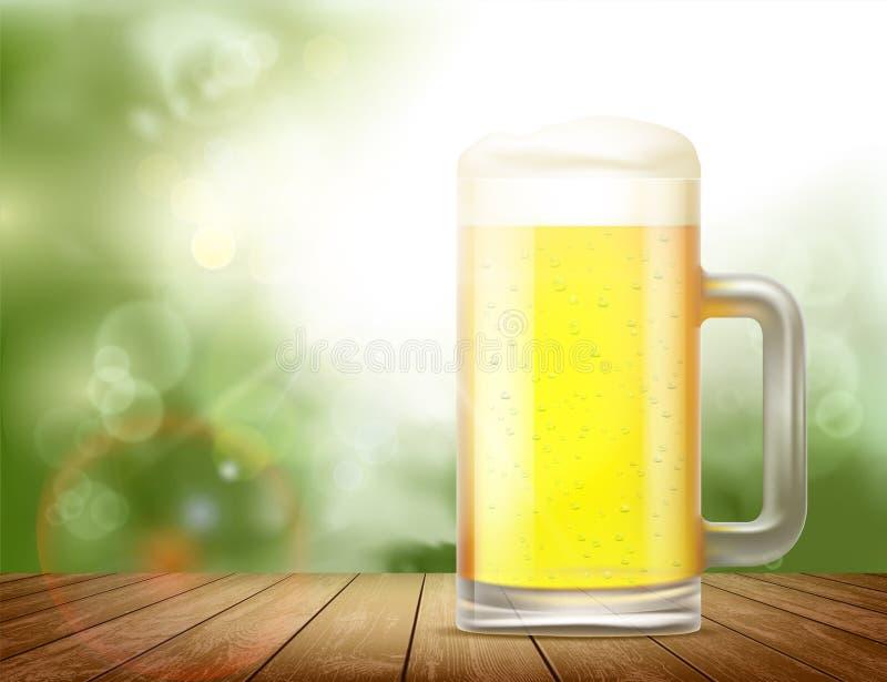 Κούπα γυαλιού με την μπύρα ελεύθερη απεικόνιση δικαιώματος
