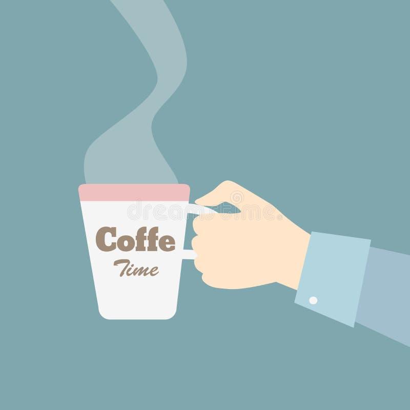 Κούπα εκμετάλλευσης χεριών με τον καφέ επίσης corel σύρετε το διάνυσμα απεικόνισης απεικόνιση αποθεμάτων