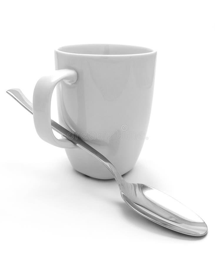 Κούπα και κουτάλι στοκ εικόνα