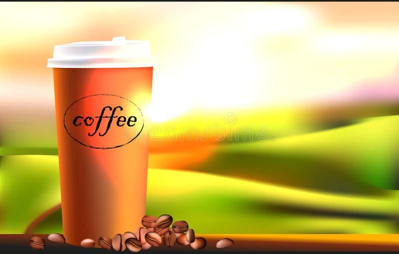 Κούπα καφέ και φασόλια καφέ στην ξύλινη άποψη πινάκων και ηλιοβασιλέματος ή ανατολής διανυσματική απεικόνιση