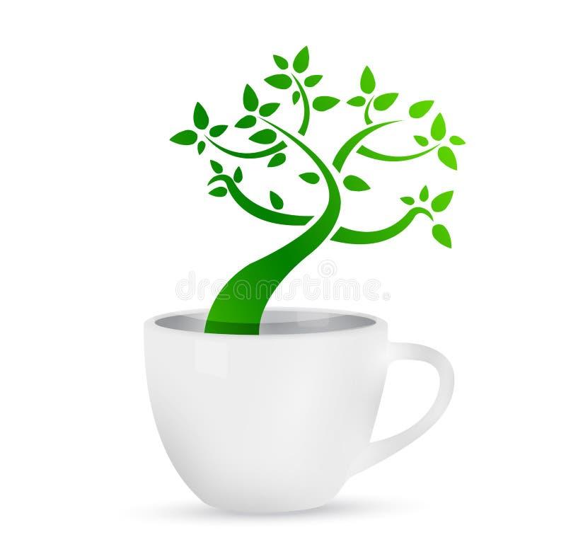 Κούπα καφέ με ένα δέντρο που αυξάνεται μέσα. διανυσματική απεικόνιση