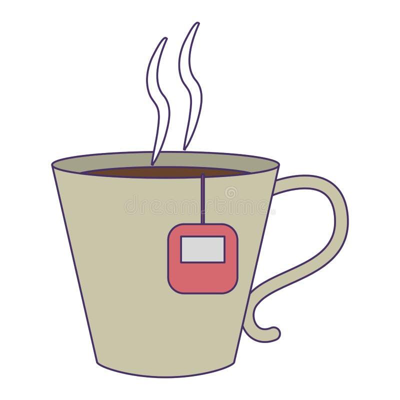 Κούπα καφέ με τις μπλε γραμμές τσαντών απεικόνιση αποθεμάτων