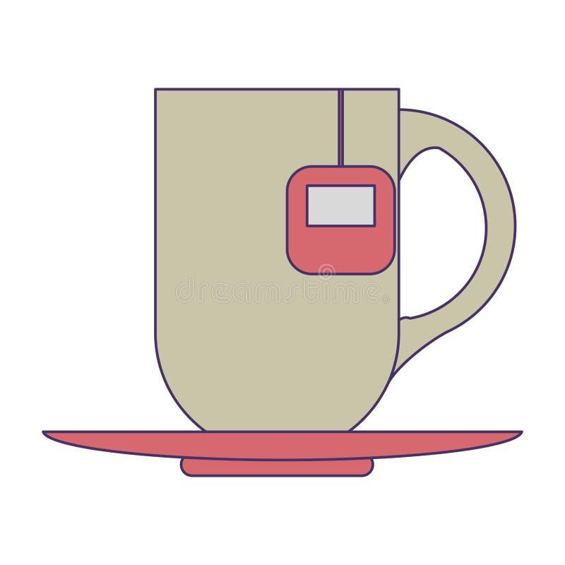 Κούπα καφέ με τις μπλε γραμμές τσαντών διανυσματική απεικόνιση