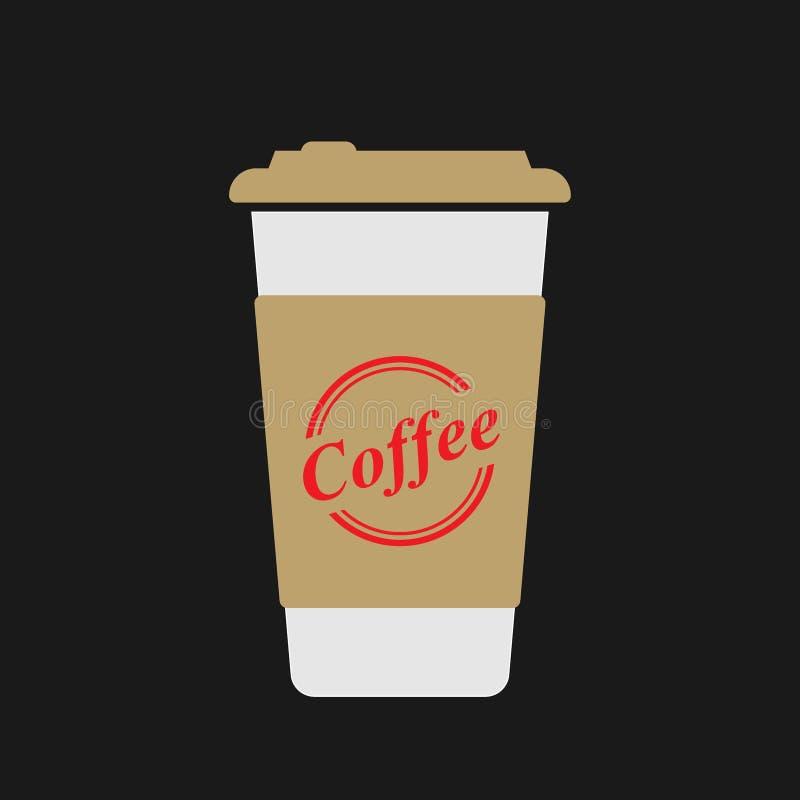 Κούπα καφέ σε ένα μαύρο υπόβαθρο απεικόνιση αποθεμάτων