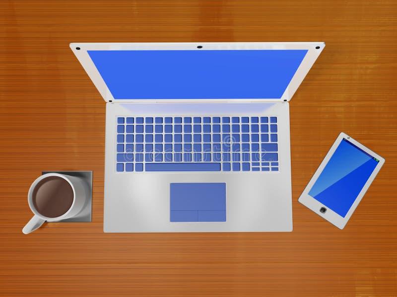Κούπα καφέ lap-top και έξυπνο τηλέφωνο ελεύθερη απεικόνιση δικαιώματος