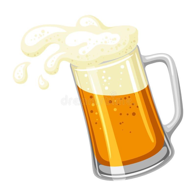 Κούπα με την ελαφριούς μπύρα και τον αφρό Απεικόνιση για Oktoberfest ελεύθερη απεικόνιση δικαιώματος