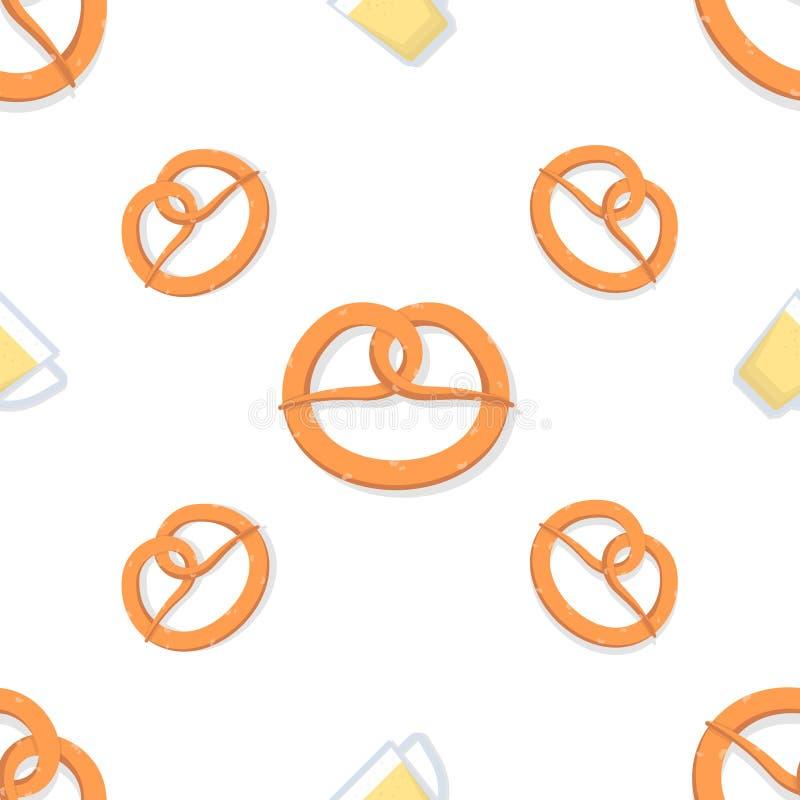 Κούπα με την μπύρα και pretzel r E διανυσματική απεικόνιση