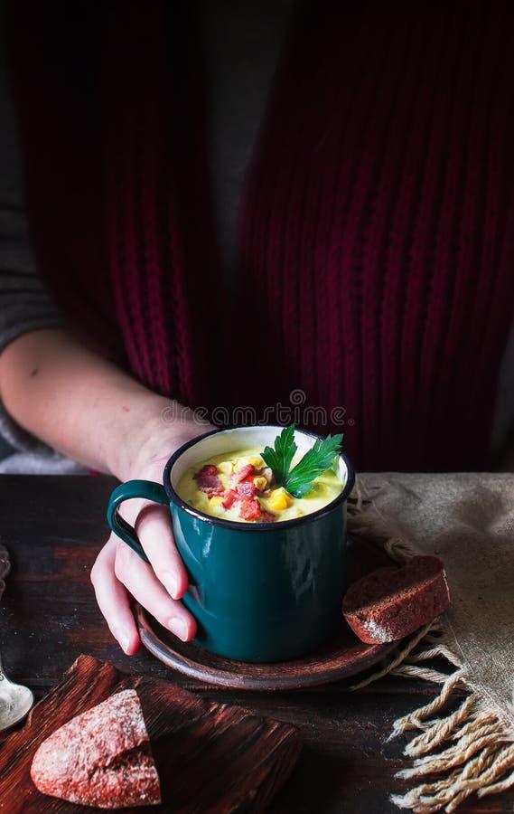 Κούπα με τη σούπα στα θηλυκά χέρια στοκ εικόνες