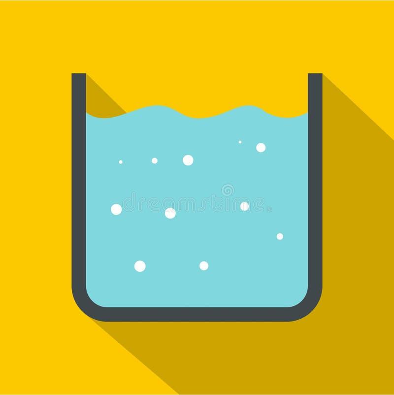 Κούπα με το καθαρό μπλε εικονίδιο νερού, επίπεδο ύφος απεικόνιση αποθεμάτων