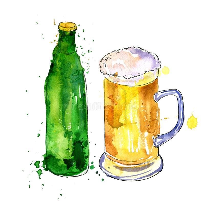 κούπα μπουκαλιών μπύρας διανυσματική απεικόνιση