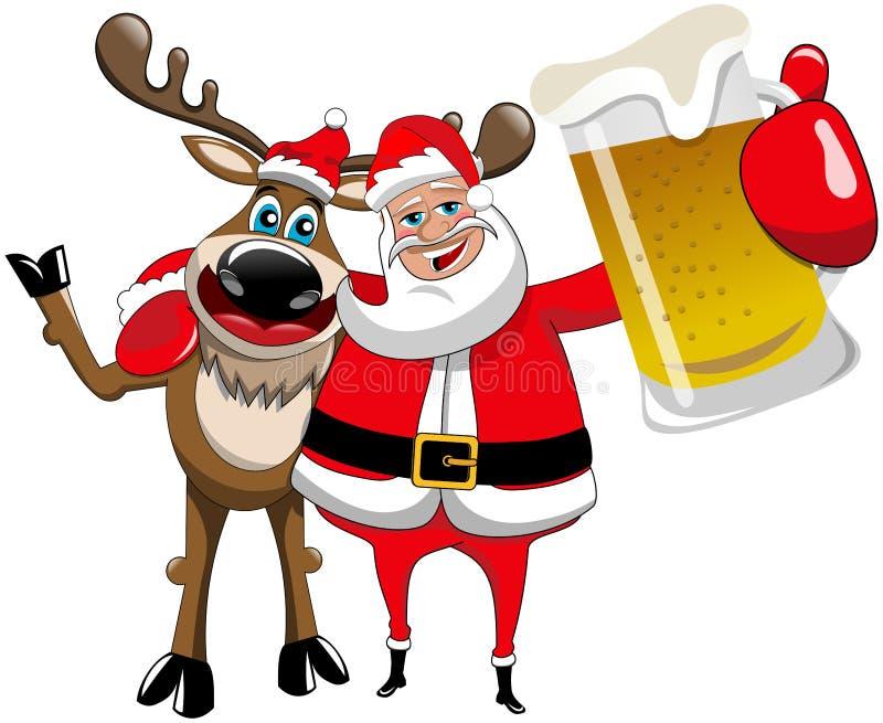 Κούπα μπύρας αγκαλιάσματος Άγιου Βασίλη Χριστουγέννων ταράνδων απεικόνιση αποθεμάτων