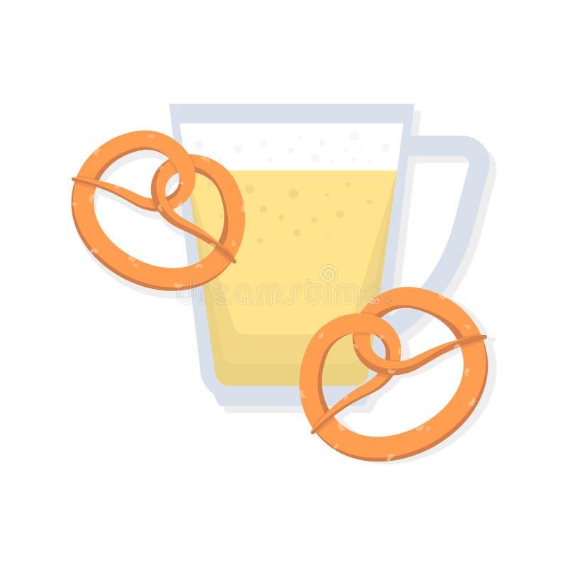 Κούπα μπύρας εικονιδίων και δύο pretzels E απεικόνιση αποθεμάτων