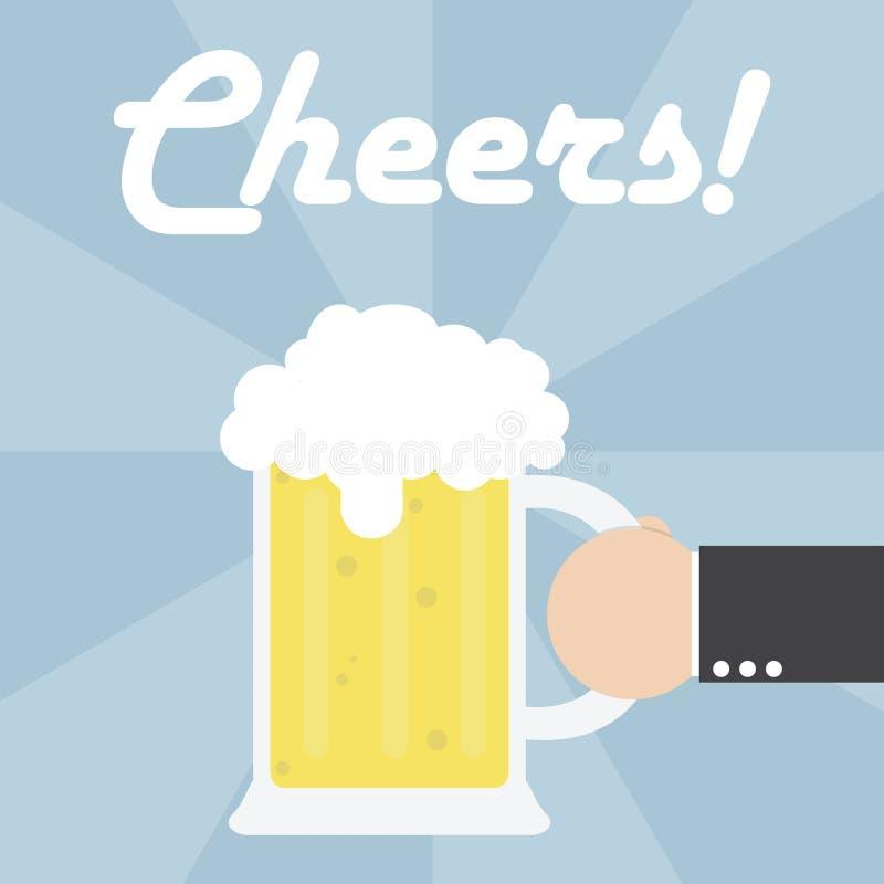 Κούπα μπύρας εκμετάλλευσης χεριών επιχειρηματιών διανυσματική απεικόνιση