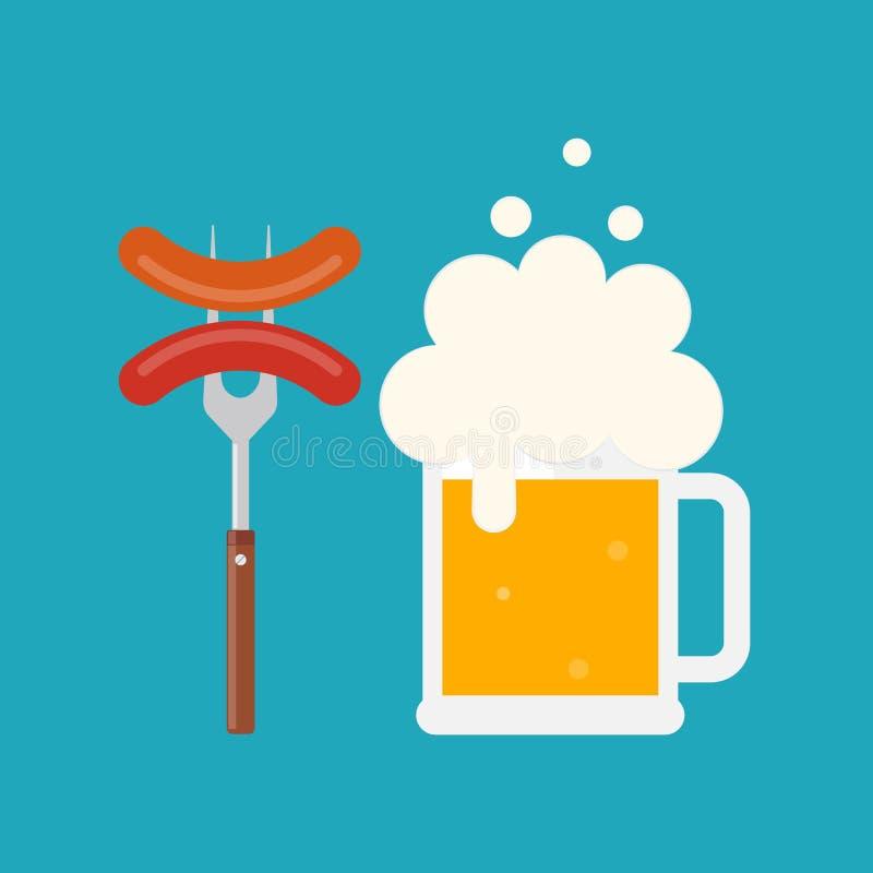 Κούπα μπύρας με τον αφρό και λουκάνικο σε ένα δίκρανο διανυσματική απεικόνιση