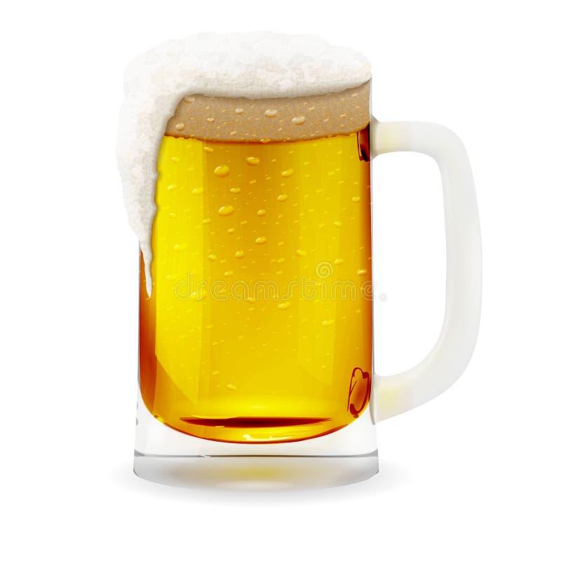 Κούπα μπύρας με το foamy, ρεαλιστικό γυαλί με τη λαβή φλυτζανιών Απεικόνιση εικονιδίων γυαλιού ποτών οινοπνεύματος απεικόνιση αποθεμάτων