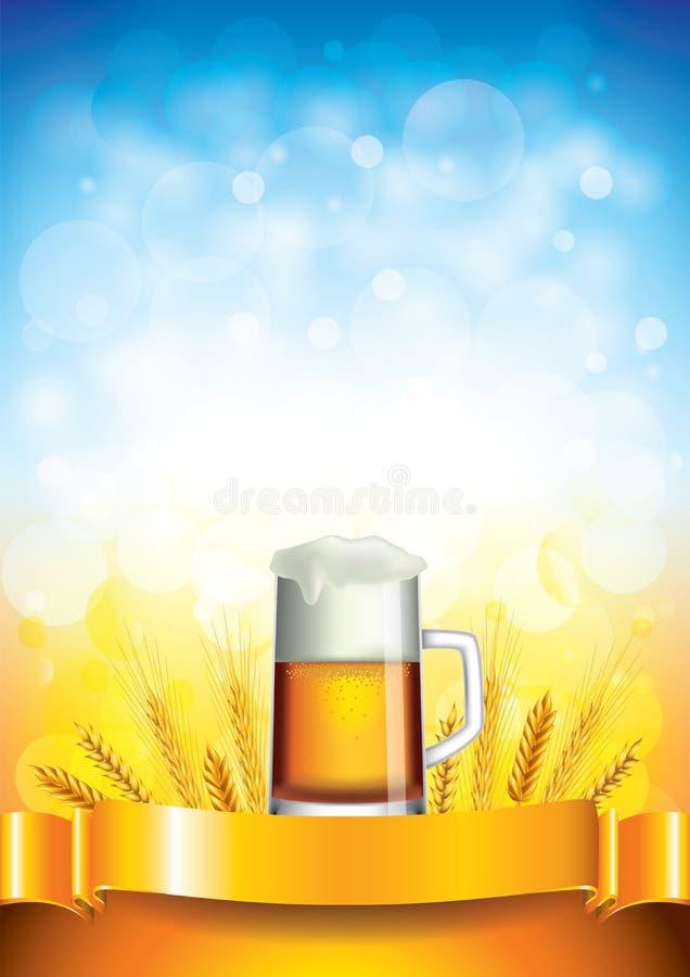 Κούπα μπύρας στο υπόβαθρο τομέων σίτου απεικόνιση αποθεμάτων