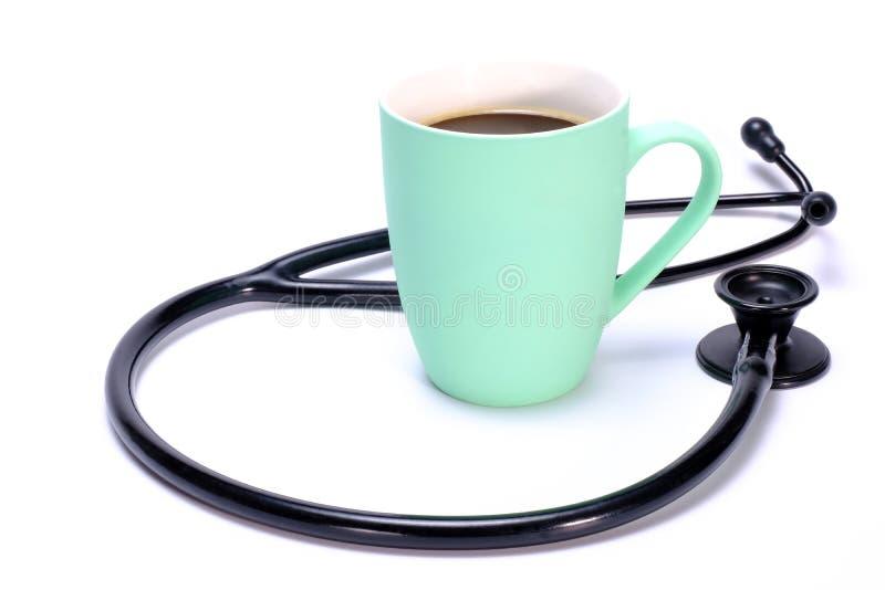 κούπα στηθοσκοπίων και καφέ στοκ εικόνα με δικαίωμα ελεύθερης χρήσης
