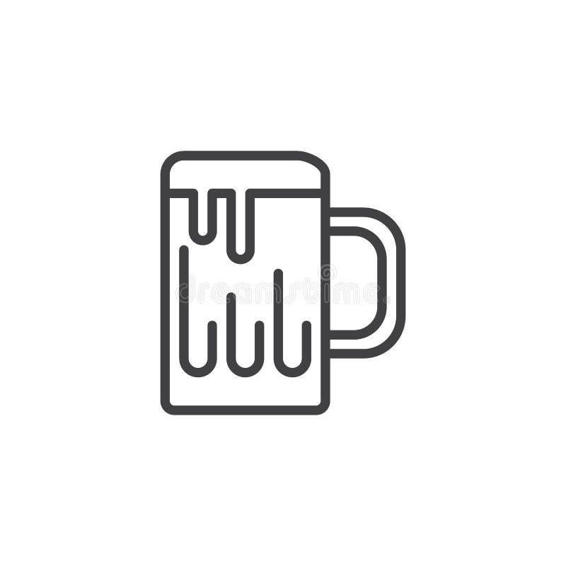 Κούπα της μπύρας με το εικονίδιο γραμμών αφρού ελεύθερη απεικόνιση δικαιώματος
