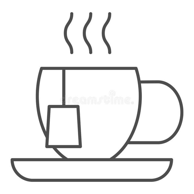 Λεπτό εικονίδιο γραμμών φλυτζανιών τσαγιού Κούπα τη διανυσματική απεικόνιση τσαντών τσαγιού που απομονώνεται με στο λευκό Το καυτ ελεύθερη απεικόνιση δικαιώματος