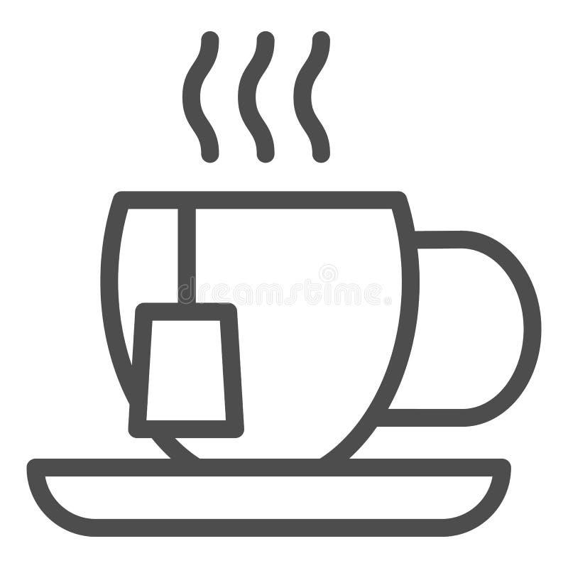 Εικονίδιο γραμμών φλυτζανιών τσαγιού Κούπα τη διανυσματική απεικόνιση τσαντών τσαγιού που απομονώνεται με στο λευκό Καυτό σχέδιο  απεικόνιση αποθεμάτων
