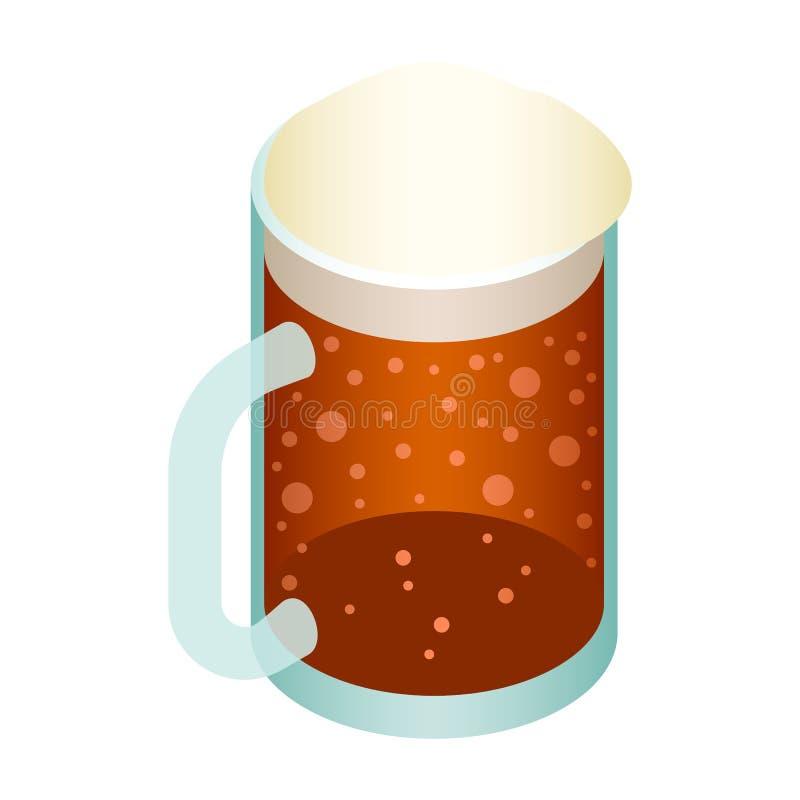 Κούπα του εικονιδίου μπύρας, isometric ύφος ελεύθερη απεικόνιση δικαιώματος