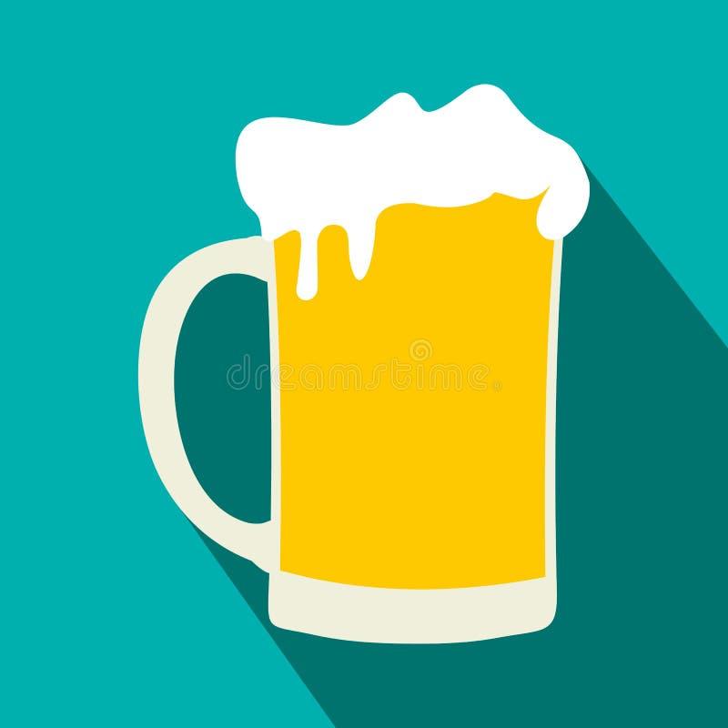 Κούπα του επίπεδου εικονιδίου μπύρας ελεύθερη απεικόνιση δικαιώματος