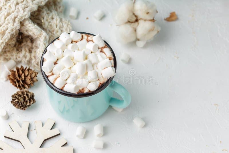 Κούπα του κακάου με marshmallows και το χειμερινό ντεκόρ στοκ φωτογραφίες