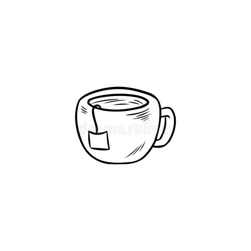 Κούπα του καυτού εικονιδίου περιλήψεων τσαγιού συρμένου χέρι doodle διανυσματική απεικόνιση