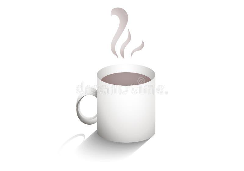 Κούπα του καυτού καφέ με τη σκιά ελεύθερη απεικόνιση δικαιώματος