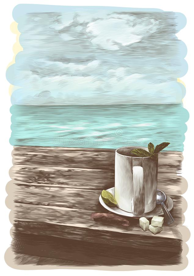 Κούπα τσαγιού με τα φύλλα μεντών σε ένα πιατάκι με ένα κουταλάκι του γλυκού που στέκεται σε έναν ξύλινο πίνακα απεικόνιση αποθεμάτων