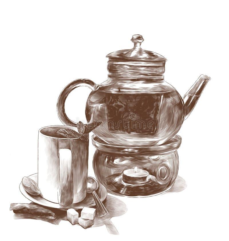 Κούπα τσαγιού με τα φύλλα μεντών σε ένα πιατάκι με ένα κουταλάκι του γλυκού και teapot γυαλιού ελεύθερη απεικόνιση δικαιώματος