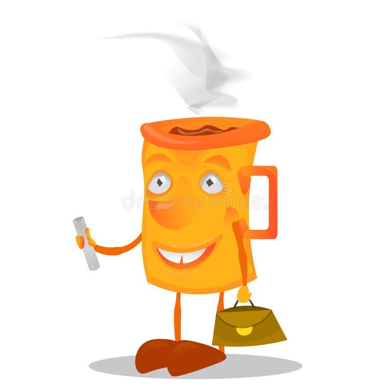 Κούπα χαρακτήρα με την τσάντα απεικόνιση αποθεμάτων