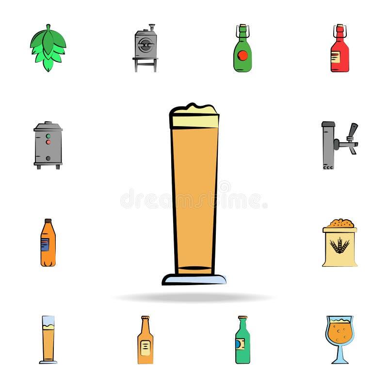 κούπα χρωματισμένου του μπύρα εικονιδίου ύφους σκίτσων Λεπτομερές σύνολο συμένος μπύρας χρώματος υπό εξέταση εικονιδίων ύφους Γρα ελεύθερη απεικόνιση δικαιώματος