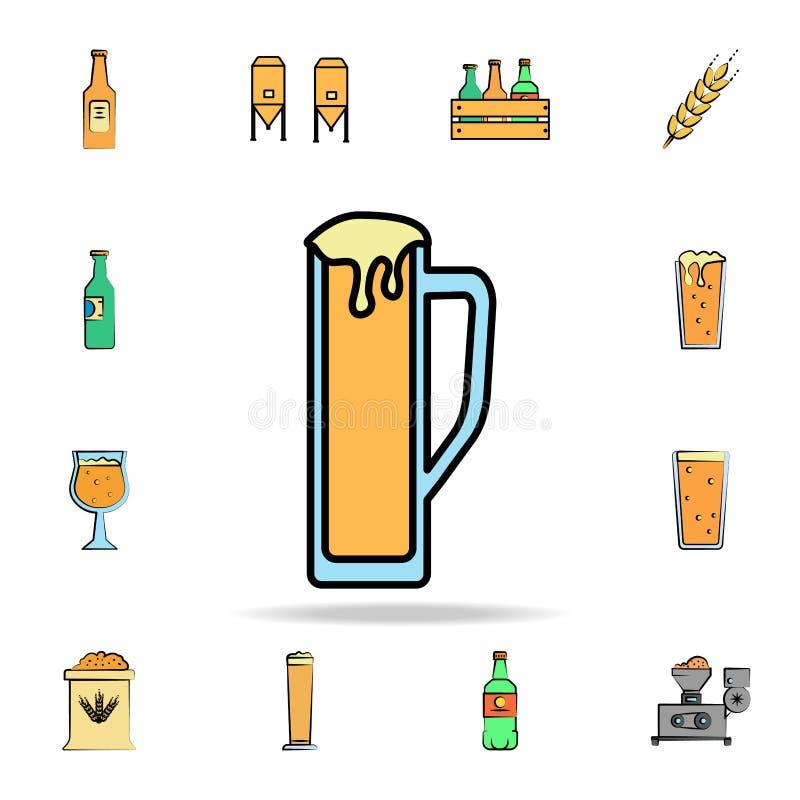 κούπα χρωματισμένου του μπύρα εικονιδίου ύφους σκίτσων Λεπτομερές σύνολο συμένος μπύρας χρώματος υπό εξέταση εικονιδίων ύφους Γρα διανυσματική απεικόνιση