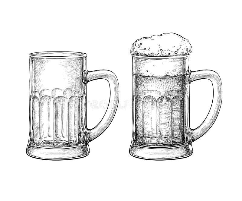 Κούπες μπύρας που απομονώνονται ελεύθερη απεικόνιση δικαιώματος