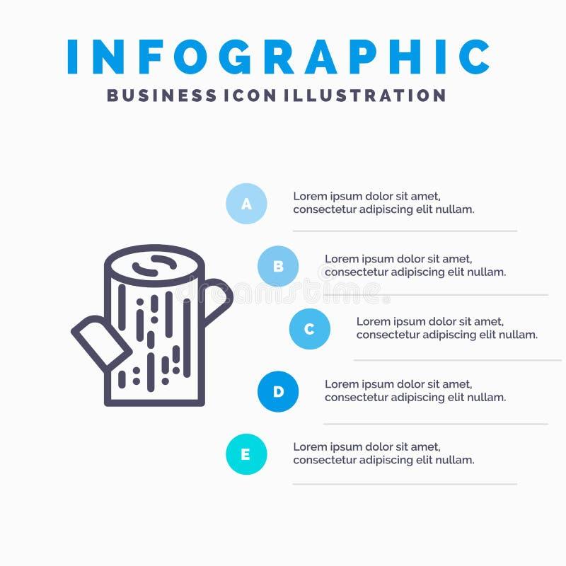 Κούτσουρο, ξυλεία, ξύλινο εικονίδιο γραμμών με το υπόβαθρο infographics παρουσίασης 5 βημάτων ελεύθερη απεικόνιση δικαιώματος