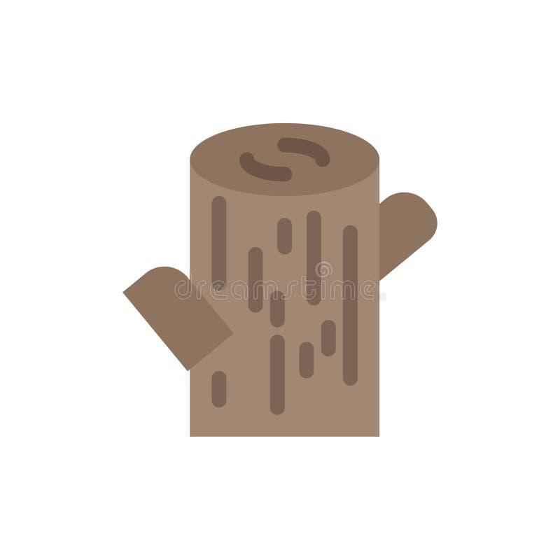 Κούτσουρο, ξυλεία, ξύλινο επίπεδο εικονίδιο χρώματος Διανυσματικό πρότυπο εμβλημάτων εικονιδίων απεικόνιση αποθεμάτων