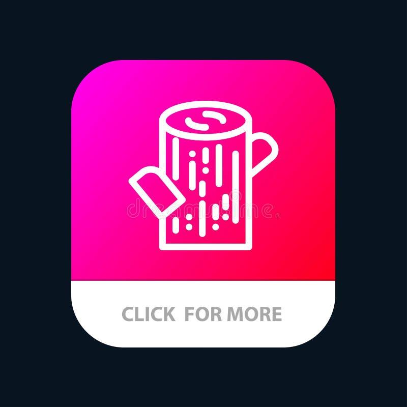 Κούτσουρο, ξυλεία, ξύλινο κινητό App κουμπί Έκδοση αρρενωπών και IOS γραμμών απεικόνιση αποθεμάτων