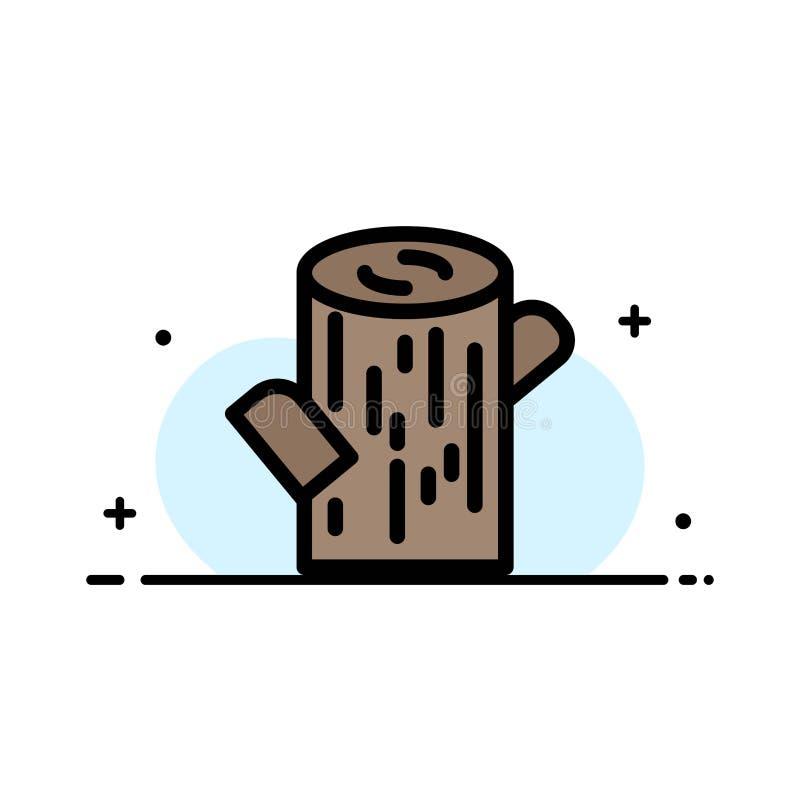 Κούτσουρο, ξυλεία, ξύλινο πρότυπο εμβλημάτων επιχειρησιακών επίπεδο γεμισμένο γραμμή εικονιδίων διανυσματικό διανυσματική απεικόνιση