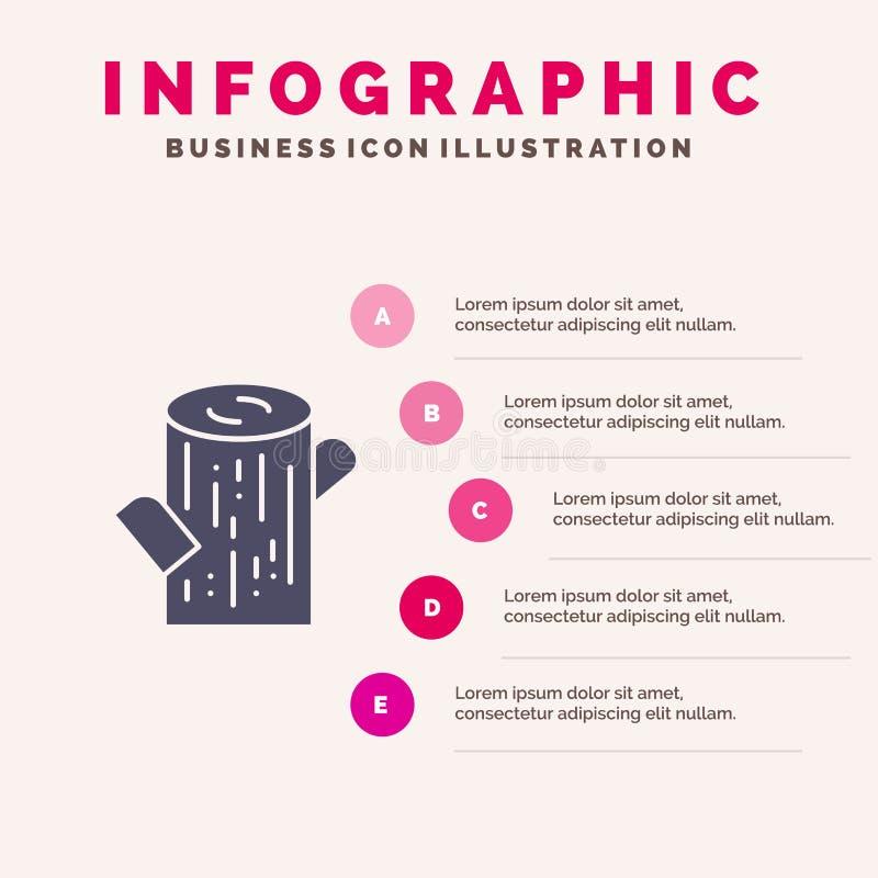 Κούτσουρο, ξυλεία, ξύλινο στερεό εικονίδιο Infographics 5 υπόβαθρο παρουσίασης βημάτων ελεύθερη απεικόνιση δικαιώματος