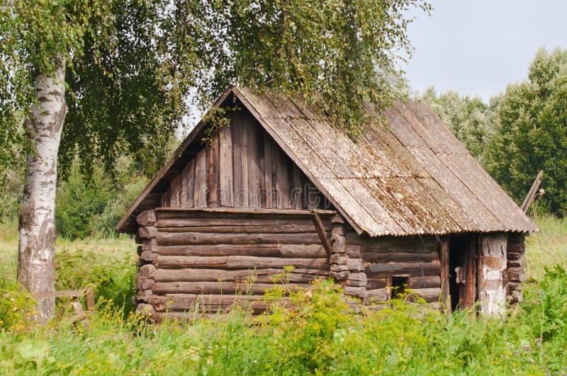 κούτσουρο τα παλαιά ρωσικά καλυβών στοκ εικόνα