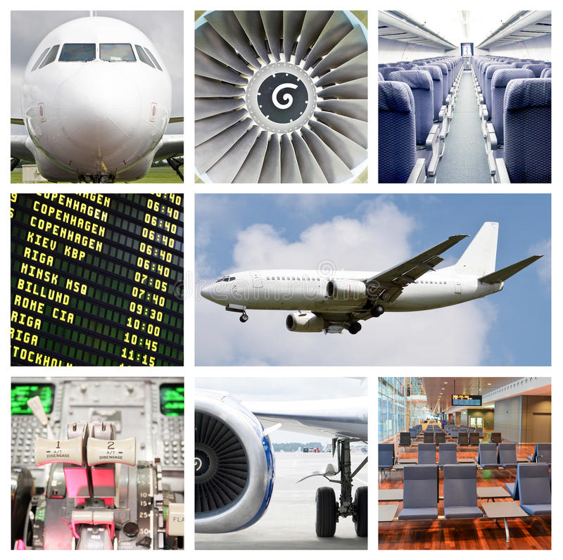 Κολάζ αεροπορικού ταξιδιού στοκ εικόνα με δικαίωμα ελεύθερης χρήσης