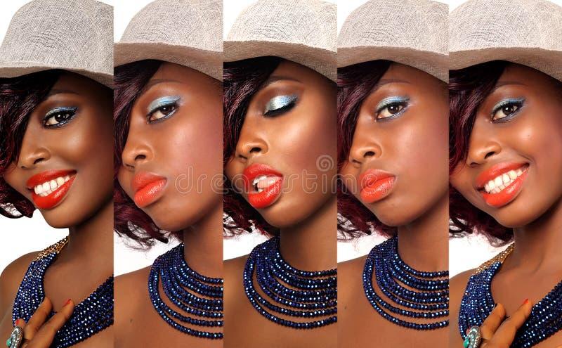 Κολάζ γυναικών ομορφιάς αφροαμερικάνων στοκ φωτογραφίες με δικαίωμα ελεύθερης χρήσης