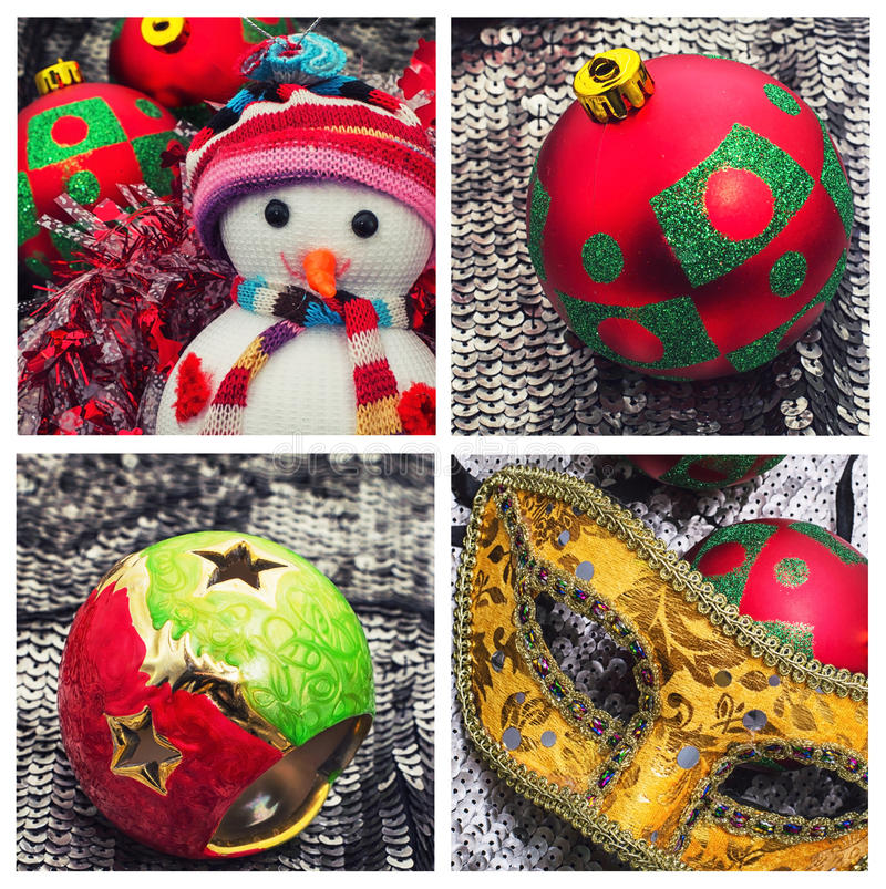Κολάζ διακοπών με τα Χριστούγεννα στοκ εικόνες