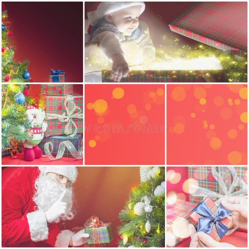 Κολάζ με διάφορες εικόνες των Χριστουγέννων, θέμα Χριστουγέννων στοκ εικόνα με δικαίωμα ελεύθερης χρήσης