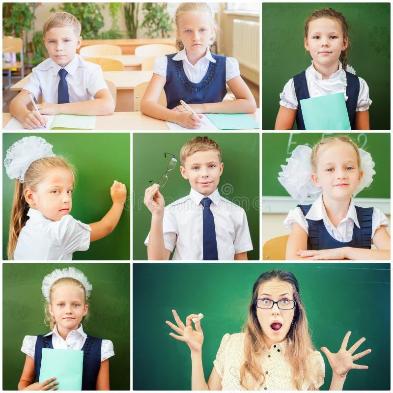 Κολάζ με διάφορες φωτογραφίες του σχολικών αγοριού, των κοριτσιών και του δασκάλου στοκ εικόνα με δικαίωμα ελεύθερης χρήσης