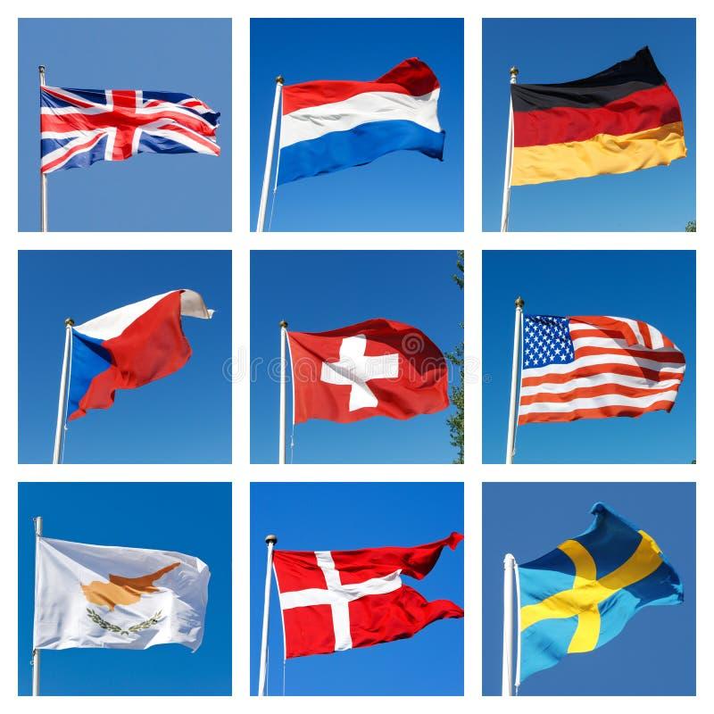 Κολάζ με τις σημαίες των διαφορετικών χωρών στοκ φωτογραφία