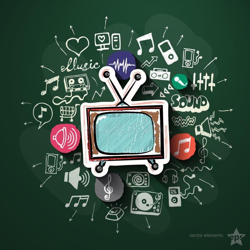 Κολάζ μουσικής και ψυχαγωγίας με τα εικονίδια επάνω διανυσματική απεικόνιση