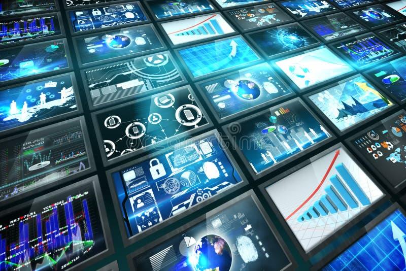 Κολάζ οθόνης που παρουσιάζει επιχειρησιακές εικόνες διανυσματική απεικόνιση