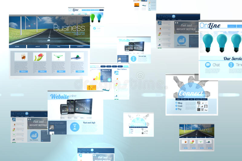 Κολάζ οθόνης που παρουσιάζει επιχειρησιακή διαφήμιση ελεύθερη απεικόνιση δικαιώματος